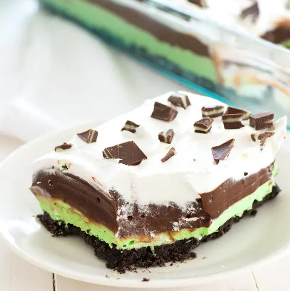 St. Patrick's Day Mint Chocolate Pudding Dessert! Image